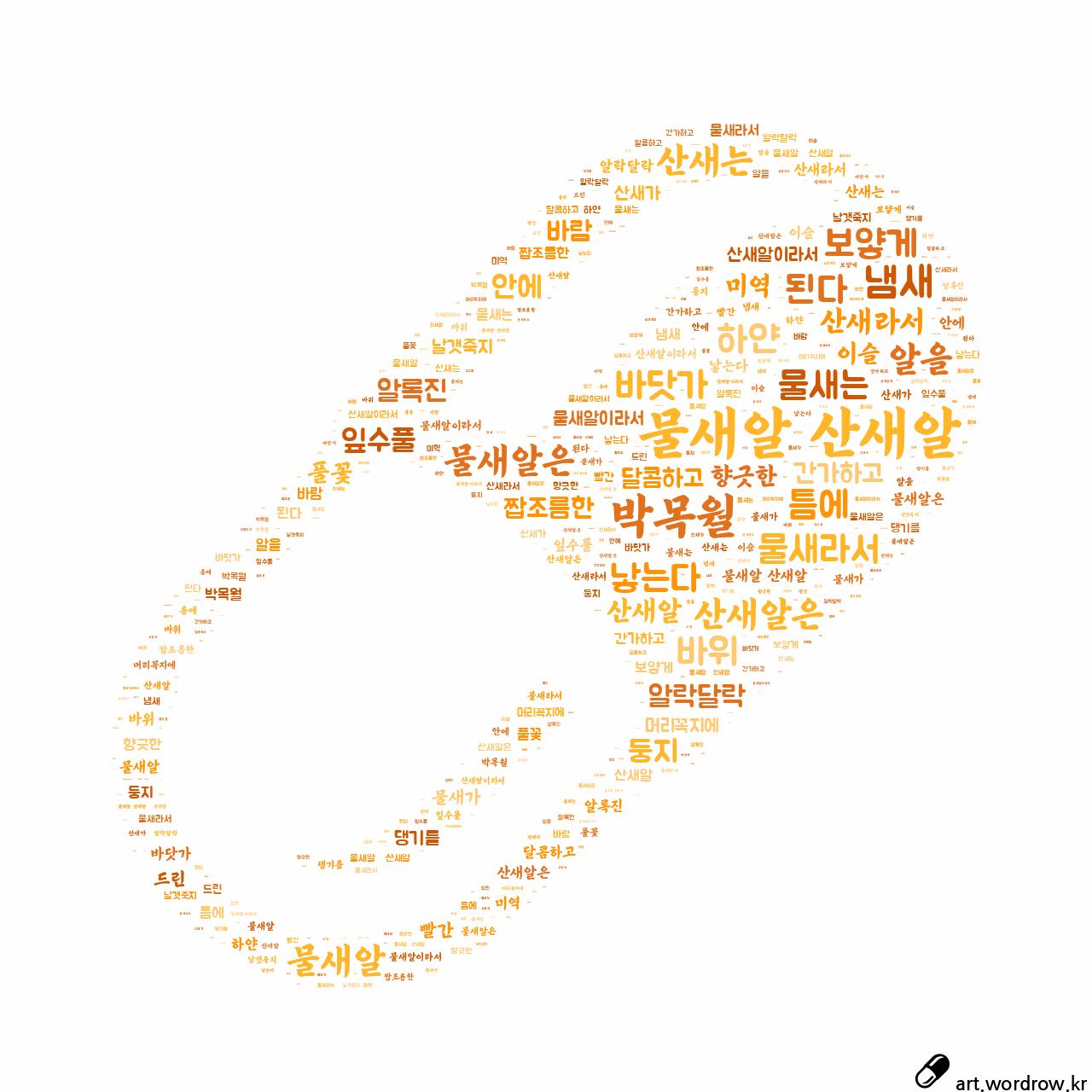 워드 클라우드: 물새알 산새알 [박목월]-33